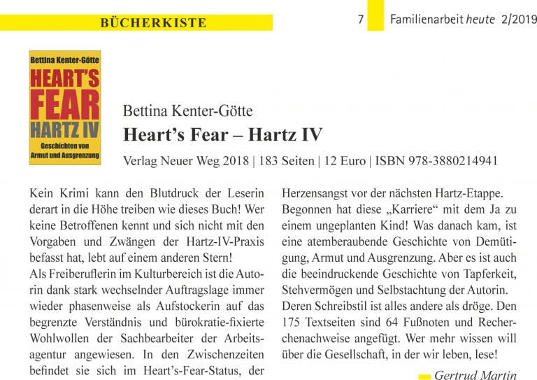 Buch: Bettina Kenter-Goette, Heart's Fear - Hartz IV (Fh 2019/2)