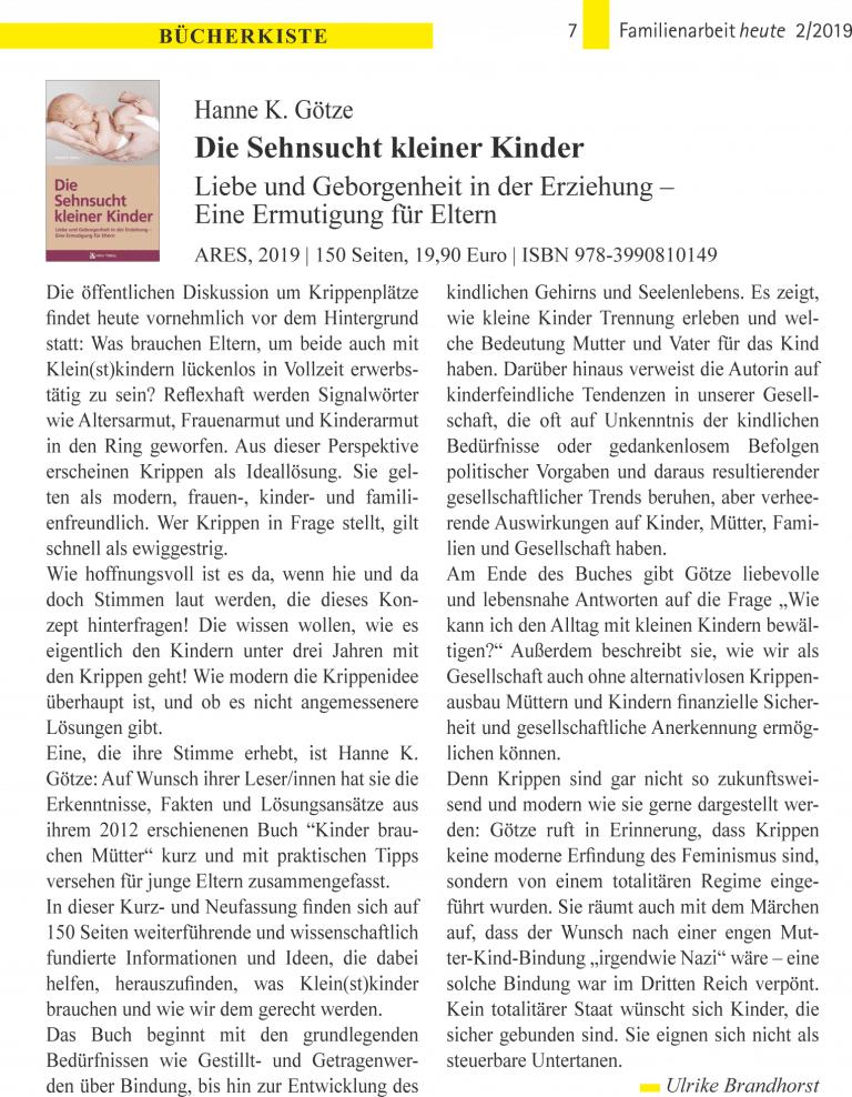 Buch: Hanne K. Götze, Die Sehnsucht kleiner Kinder (Fh 2019/2)
